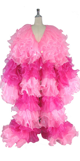 Long Organza Ruffle Coat with Long Sleeves and Highlight Sequins in Pink and Fuchsia from SequinQueen.