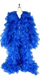 Long Organza Ruffle Coat with Long Sleeves and Highlight Sequins in Blue from SequinQueen.