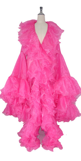 Long Organza Ruffle Coat with Oversized Sleeves and Highlight Sequins in Bright Pink from SequinQueen.