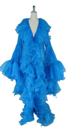 Long Organza Ruffle Coat with Oversized Sleeves and Highlight Sequins in Blue from SequinQueen.