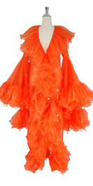 Long Organza Ruffle Coat with Oversized Sleeves and Highlight Sequins in Orange from SequinQueen.