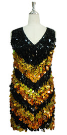 Short Handmade Chevron Patterned Paillette Black and Gold Sequin Dress In Metallic & Hologram Sequins Front View