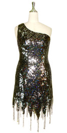 Short Handmade Black Sequin Dress In Metallic & Hologram Sequins With A One Shoulder Cut & Beads Front View