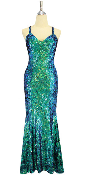 A long handmade sequin dress, in iridescent 8mm cupped sequins with beads front view