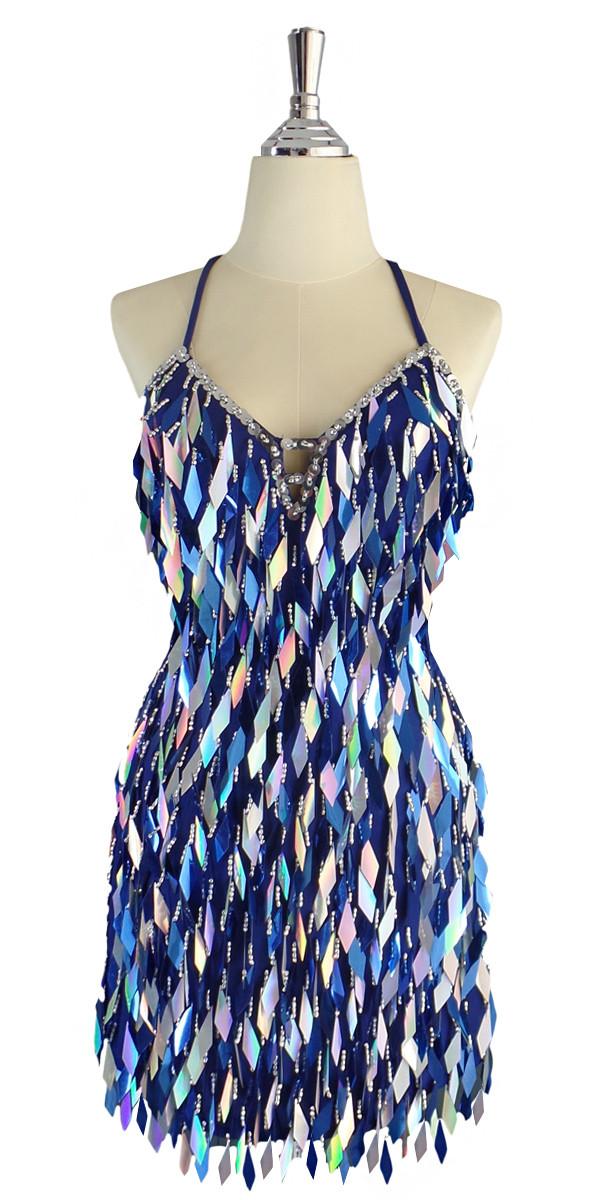 0a1fba1d87e6 A short handmade sequin dress, in diamond-shaped metallic silver and dark  blue sequins