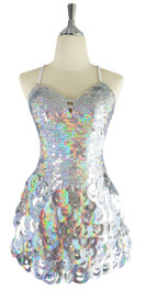 A short handmade sequin dress, with 10mm hologram silver fishscale sequins front view