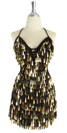 A short handmade sequin dress, with tear-drop shaped metallic gold paillette sequins front view