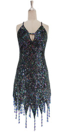 A short handmade sequin dress, in 8mm cupped iridescent black sequins front view