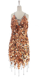 A short handmade sequin dress, in 20mm copper paillette sequins with silver faceted beads front view