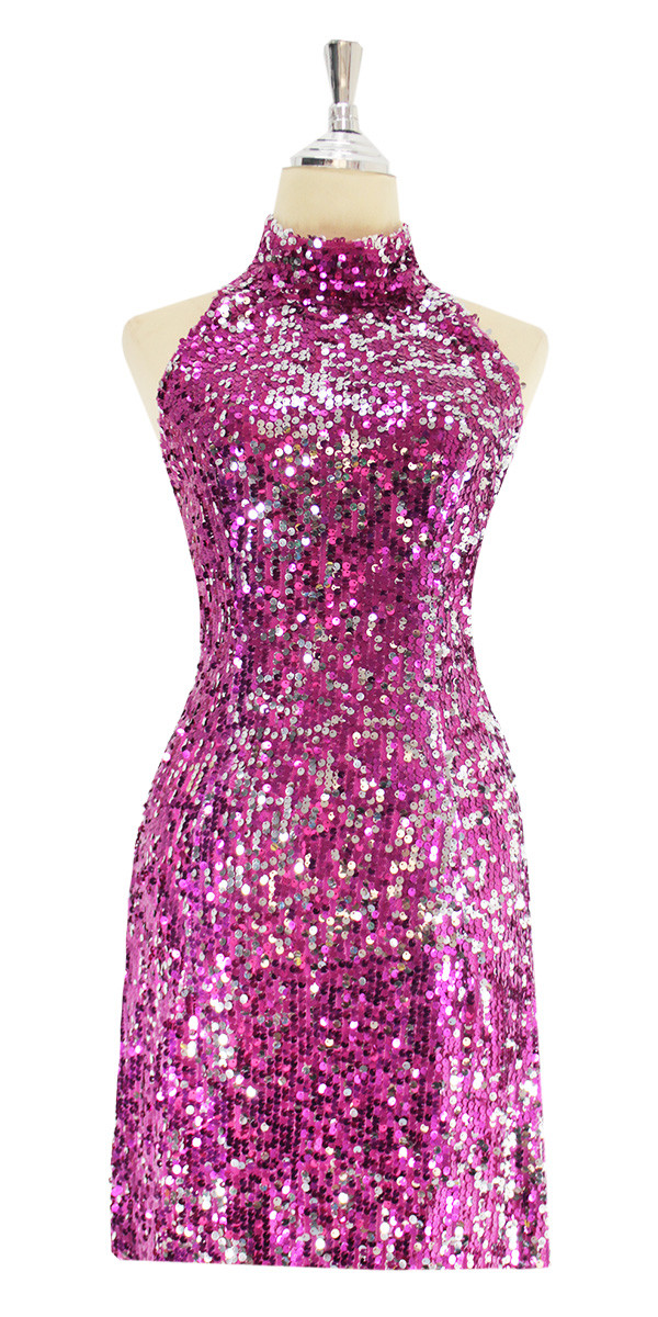 3855ff9f A short sequin fabric dress, in Duality fuchsia and silver sequins front  view