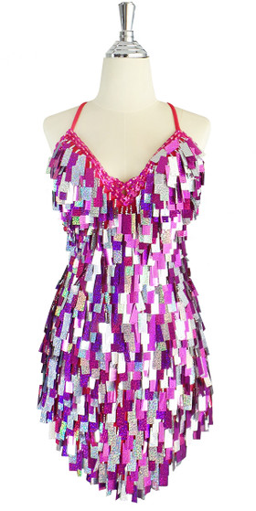A short handmade sequin dress, with rectangular hologram silver and fuchsia mixed paillette sequins front view