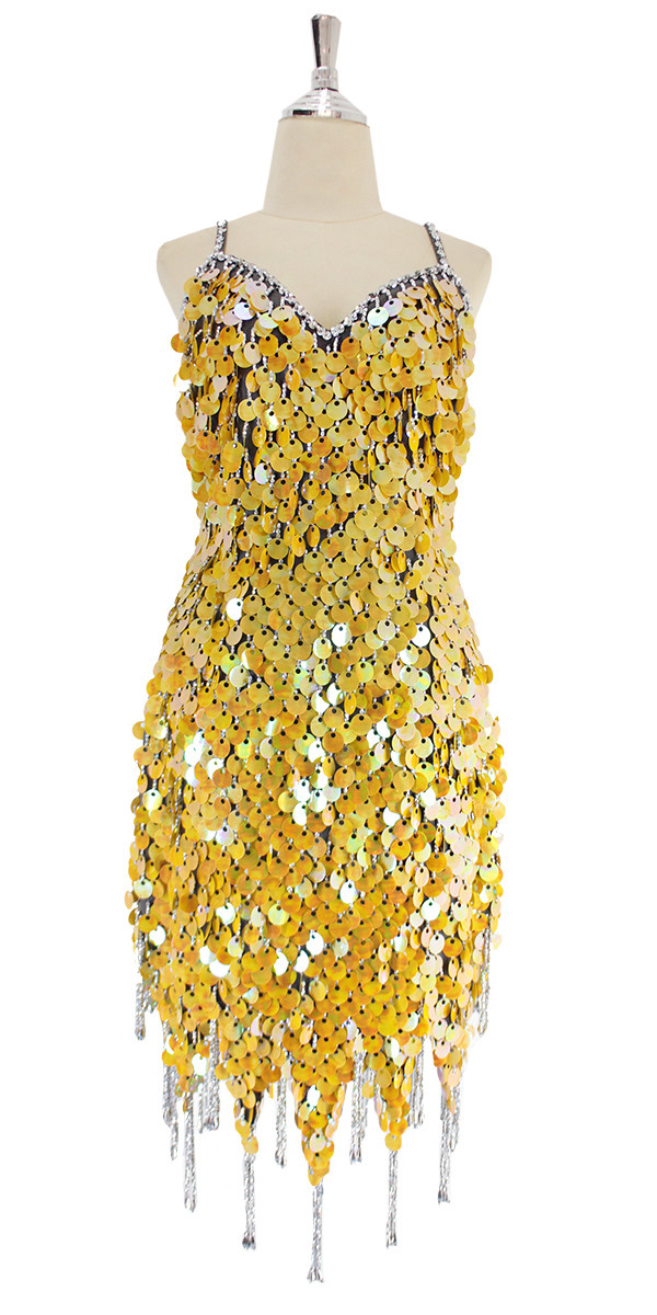 03788bf1 A short handmade sequin dress, in yellow pearl paillette sequins with  silver beads front view
