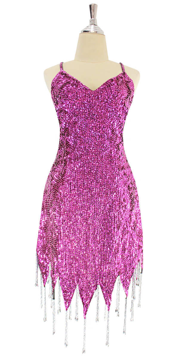 f1e10878 A short handmade sequin dress, in 8mm cupped dark pink sequins with silver  beads front