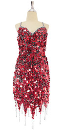 A short handmade sequin dress, in red hologram paillette sequins with silver beads front view