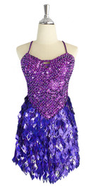 A short handmade sequin dress, with 10mm hologram dark lilac fishscale sequins overlaid with iridescent purple faceted beads front view