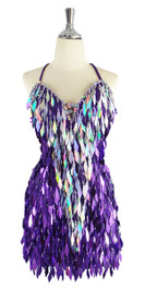 0a7dfd2d A short handmade sequin dress, with diamond-shaped metallic silver and  purple sequins front