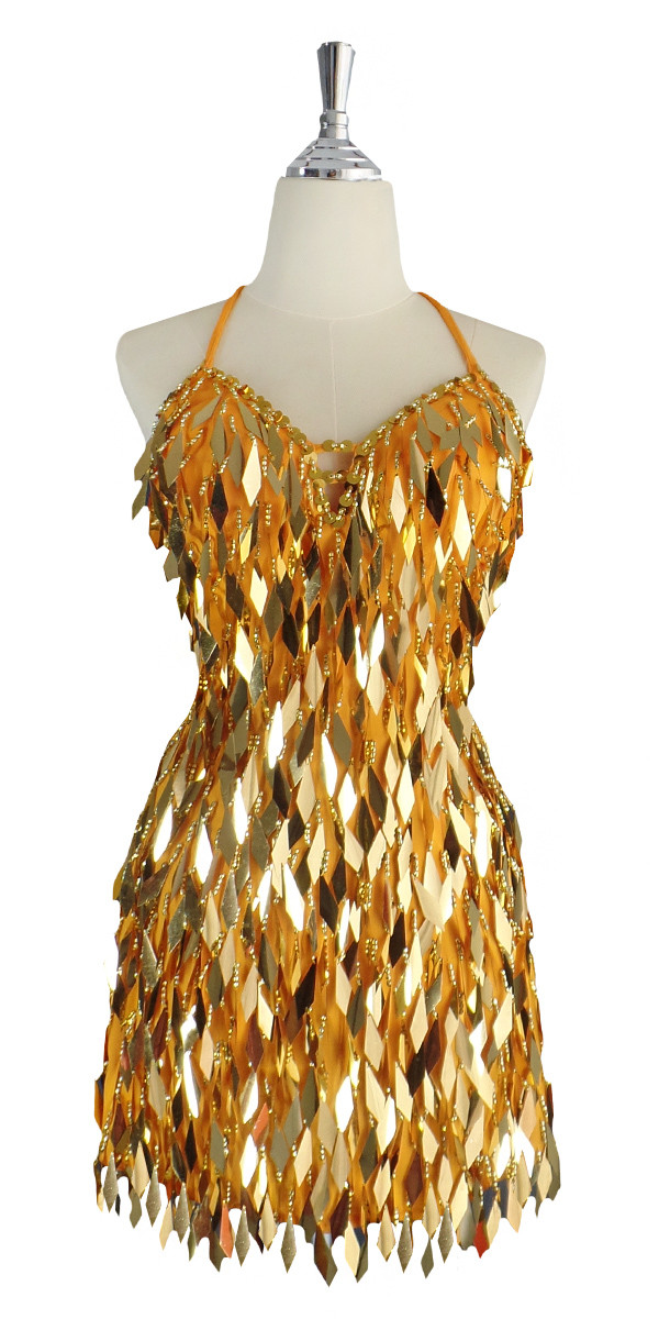 0e8e35c8 A short handmade sequin dress, in diamond-shaped metallic gold sequins front  view