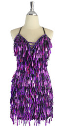 A short handmade sequin dress, with tear-drop shaped hologram purple paillette sequins front view
