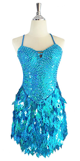 A short handmade sequin dress, with 10mm hologram turquoise fishscale sequins front view