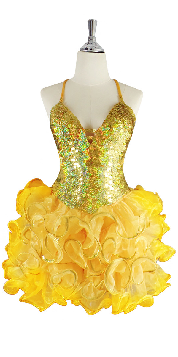 90ec48fe A short handmade sequin dress, in 10mm flat hologram gold sequins with a  yellow ruffled