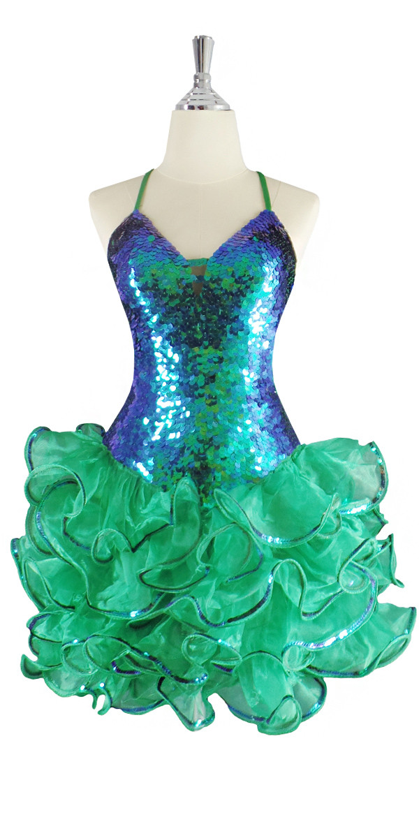 c5b3f42c A short handmade sequin dress, in 10mm iridescent green fishscale sequins  front view