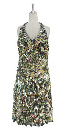 A short handmade sequin dress, in 20mm metallic iridescent gold paillette sequins with silver faceted beads front view