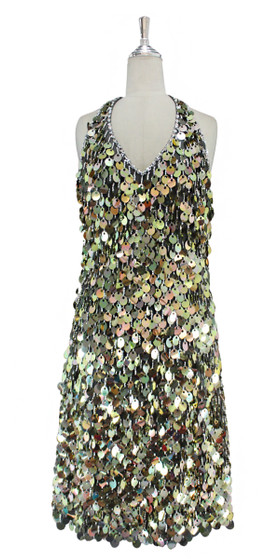 66795949dffe A short handmade sequin dress, in 20mm metallic iridescent gold paillette  sequins with silver faceted