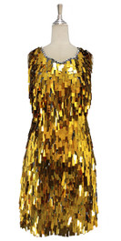 A short handmade sequin dress, in rectangular metallic gold paillette sequins with silver faceted beads front view