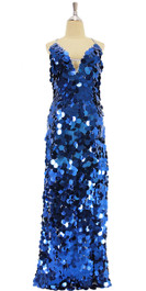 A long handmade sequin dress, in metallic royal blue 30mm jumbo paillette sequins front view