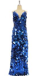 A long handmade sequin dress, in metallic royal blue 30mm jumbo paillette sequins front view