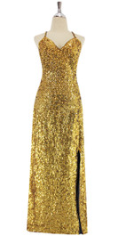 A long handmade sequin dress, in metallic gold 8mm cupped sequins with a classic cut front view