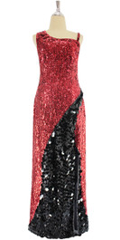 A long handmade sequin dress, in red 8mm cupped sequins with black paillette hanging sequin front view