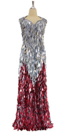 A long handmade sequin dress, in silver and red diamond shaped paillette hanging sequins with sweetheart neckline front view