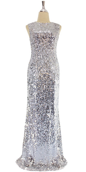 A silver sequin ULTIMATE fabric dress with elegant cowl back, front view