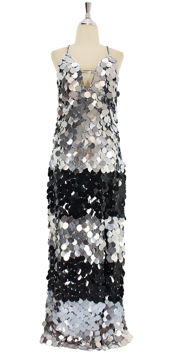 baa6d2081fcf2 A long handmade sequin dress, in 30mm flat jumbo black and silver sequins  front view