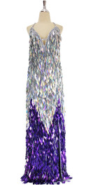 A long handmade sequin dress, in diamond shaped paillette sequins of purple and iridescent silver front view