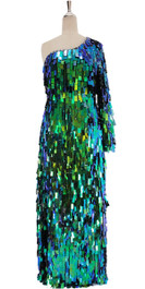 A long handmade sequin dress, in rectangular paillette metallic iridescent green sequins front view