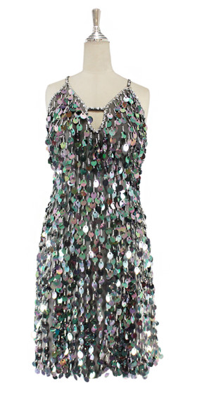 A short handmade sequin dress, in 20mm iridescent grey paillette sequins front view