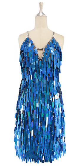 A short handmade sequin dress, in rectangular hologram blue paillette sequins with silver faceted beads front view