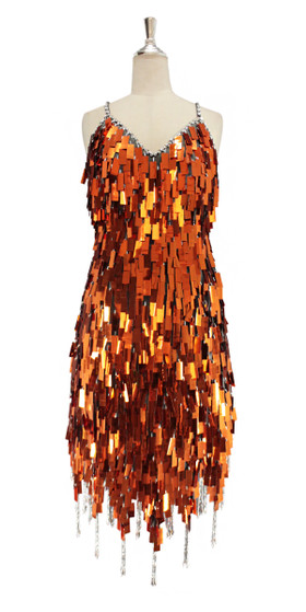 A short handmade sequin dress, in rectangular copper paillette sequins with silver faceted beads front view