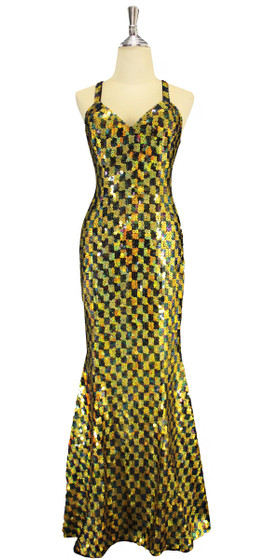 A long handmade sequin dress, in 10mm flat hologram gold and black sequins front view
