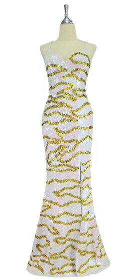 A long handmade sequin dress, in flat 10mm iridescent white sequins and overlaid with a gold sequin and beaded pattern front view