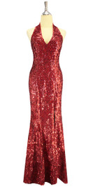A long handmade sequin dress, in 8mm cupped metallic red sequins front view