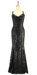 A long handmade sequin dress, in 8mm cupped black sequins front view