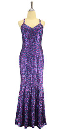A long handmade sequin dress, in 8mm cupped hologram purple and fuchsia sequins front view