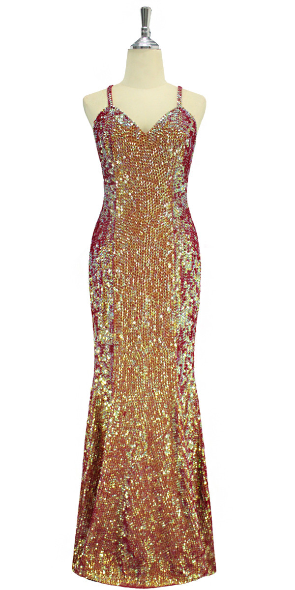 6e54764e A long handmade sequin dress, in 8mm cupped iridescent red, orange and pale  green