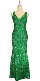 A long handmade sequin dress, in 8mm cupped metallic emerald green sequins front view