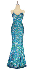 A long handmade sequin dress, in 8mm cupped hologam turquoise and silver sequins front view
