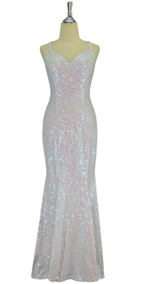 A long handmade sequin dress, in 8mm cupped iridescent transparent sequins front view