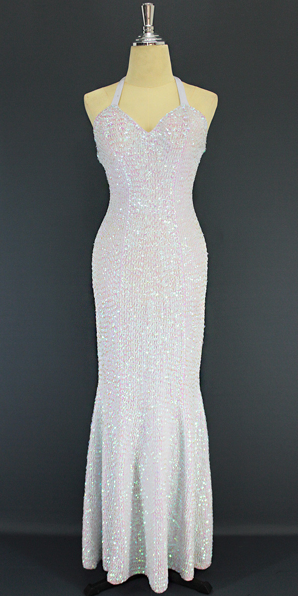 33cd991a A Long Handmade Sequin Dress, In 8mm Cupped White Transparent Sequins front  view